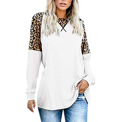 T-Shirt Frauen New Straight Leopard Rundhalsausschnitt Lässig Langarm (L,7Weiß)