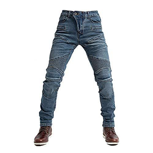 TIUTIU Vaqueros De Moto Para Caballero, Con 4 Almohadillas Protectoras Desmontables, Pantalón De Mezclilla De Moto, Pantalones De Carreras Profesionales Transpirables De Verano (Blue,L)