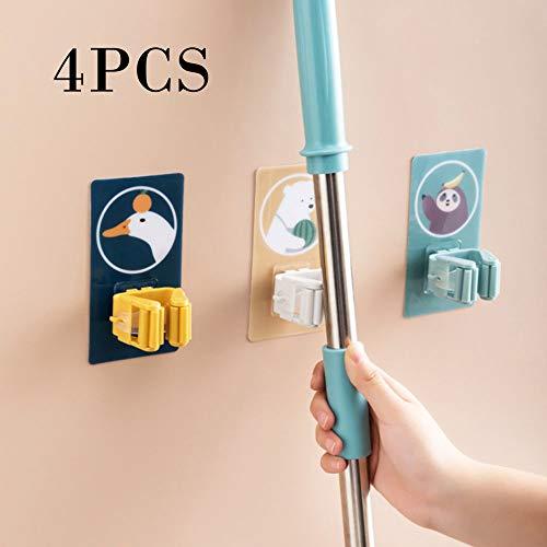4 PCS Mop Besenhalter mit Saugnapf, selbstklebende Mop Wandhalterung Besenaufbewahrungsregal für die Küche, ordentliches Organizer-Werkzeug für die Gartengarage Badezimmer Büro
