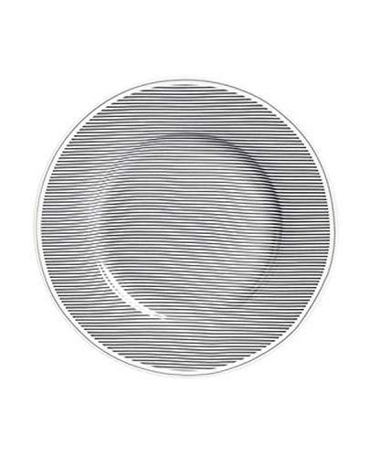 Krasilnikoff - Teller - Nadelstreifen - anthrazit - Porzellan - Ø20 cm