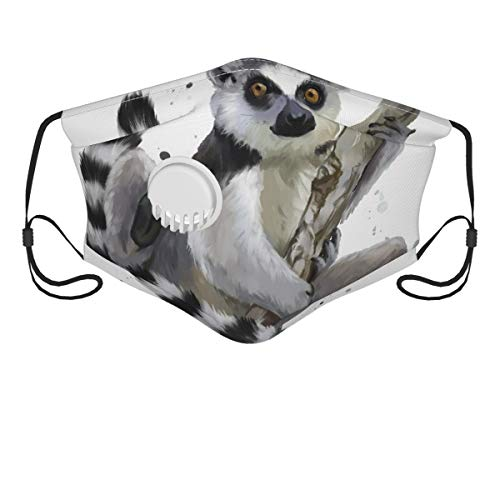 HARXISE Face Cover,A Ring tailed Lemur Watercolor Painting,Balaclava Unisex Reusable Windproof Anti Dust Mouth Bandanas Outdoor Camping Motorcycle Running Neck Gaiter