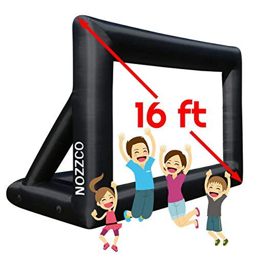 Outdoor Movie Screen – 16 FT Inflatable Projector Screen – Family Screen Tent + Printable Party Theme Movie Ticker Templates – Lightweight & Easy to Inflate – Family Pool Canvas Tent by Nozzco