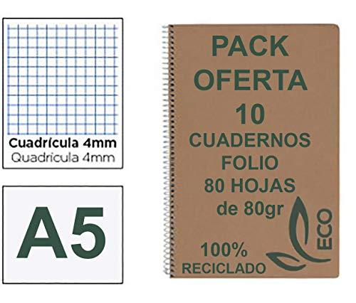 Quaderni riciclati Din A5 con rilegatura a spirale metallica, confezione da 10 quaderni di carta riciclata e 80 fogli a quadretti da 4 mm, quaderni ecologici a fogli riciclati, quaderni A5 Quarto Eco