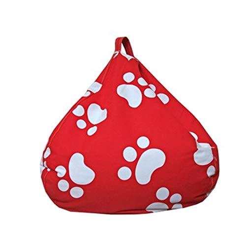 ChengBeautiful Sofá Puf Silla de Bolsas de Frijol Solo para niños niños niñas Adolescentes para niños Silla de Bolso de Frijoles para el jardín Suave Y Cómodo (Color : Red, Size : 80x80cm)