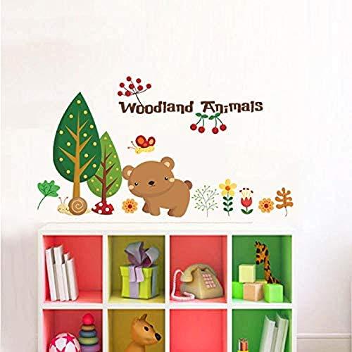 Ligoi Woodland Animal Cherry Christmas Wall Stickers Decoraciones para El Hogar Bear Tree Flower CalcomaníAs De Vinilo ExtraíBles para Pared Zoo Kid CalcomaníAs para El Hogar