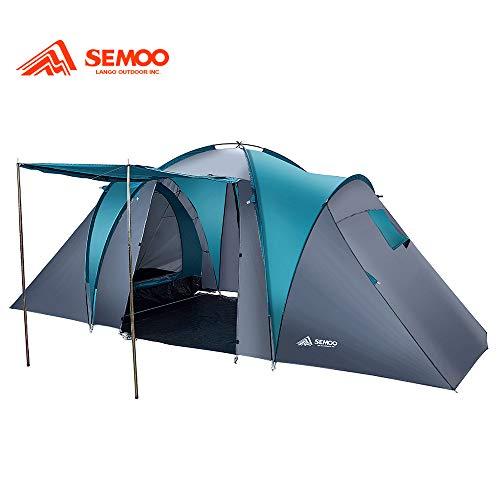 Semoo 4-6 Personen Vis-A-Vis Tunnelzelt Wasserdicht Campingzelt mit 2 Schlafkabinen 4 Mann Familienzelt mit Großer Stauraum