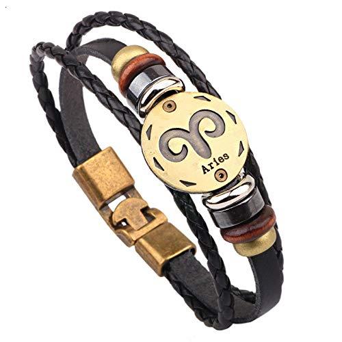 ABWEY Pulsera de cuero 12 Constellation, joyería de pulsera tejida a mano, pulsera de pareja con doble hebilla de acero inoxidable-RAM