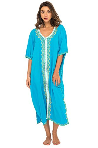 Back From Bali Womens Beach Cover Up Maxi Embroidered Dress, Long Beach Caftan Poncho for Swimsuit Turquoise