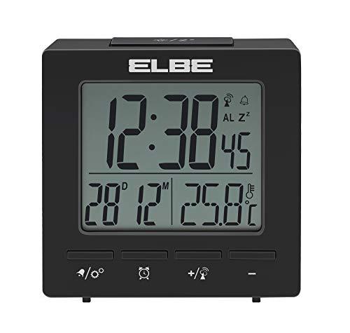 ELBE RD-005-N - Reloj despertador con termómetro; temperatura interior; compacto; pantalla LCD 2.55''; luz de fondo; alarma dual; función snooze; color negro