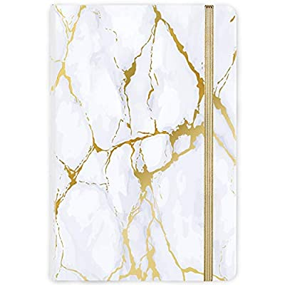 """Ruled Notebook/Journal - Hardcover Notebook with Premium Thick Paper, College Lined Journal, 5.6""""×8.3"""", Golden & White Marble Pattern, Perfect for Office Home School Business Writing & Note Taking"""