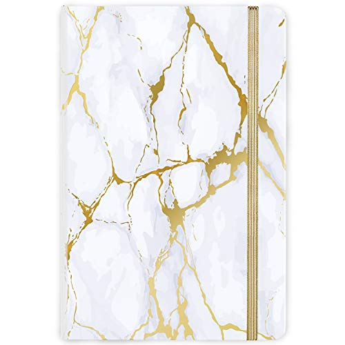 "Ruled Notebook/Journal - Hardcover Lined Notebook with Premium Thick Paper, College Lined Journal, 5.8""×8.4"", Gold & White Marble Pattern, Perfect for Office Home School Business Writing & Note Taking"