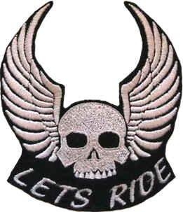 Let\'s Skull Wings &Ride on Sew Iron on Patch Biker Motorrad Aufnäher