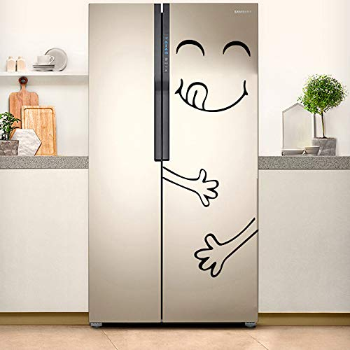 Pegatina del refrigerador divertido Happy Delicious Face Decoración de la cocina Pegatinas de pared 55X72CM