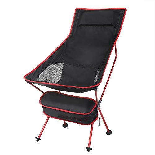 WOLTU Campingstuhl Angelstuhl klappstuhl faltstuhl, mit Tragetasche und Kopfstütze, bis 140KG belastbar Rot + Schwarz CPS8133rt