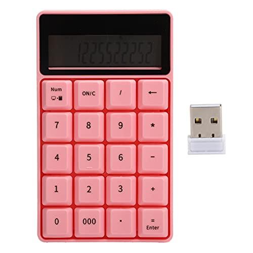 Agatige Calculadoras De Oficina, Calculadora De Teclado Digital Inalámbrica 2.4g con Pantalla De Visualización como Calculadora Financiera para Estudiantes(Teclado inalámbrico 657 Rosa)