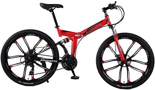 Bicicleta Plegable de la Bicicleta 24/26 Pulgadas 21/24/27 Speed Road Bike Bike Bikes Plegables MTB Snow Beach Bicycle-24 Pulgadas_21 Velocidad