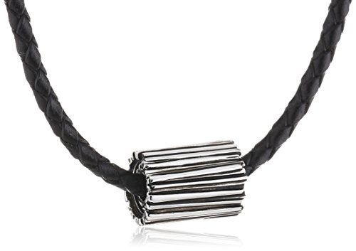 Baldessarini Herren Halskette 925 Sterling Silber rhodiniert Leder 50 cm Y2095N/90/00/50