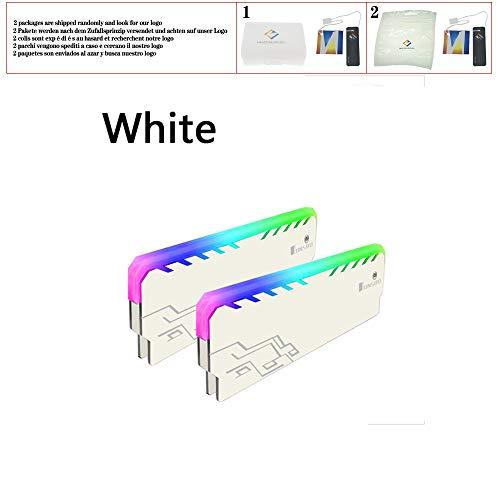 huicouldtool 2 UNID Memoria RAM RGB Enfriador del disipador de Calor Chaleco de refrigeración Aleta Disipar para DIY Juego de PC Overclocking Mod DDR DDR3 DDR4,Blanco