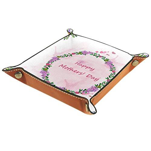 Leder Valet Tray, Würfel Tray Folding Square Holder, Kommode Organizer Platte für Wechsel Münzschlüssel Muttertag Girlande Purple Pink