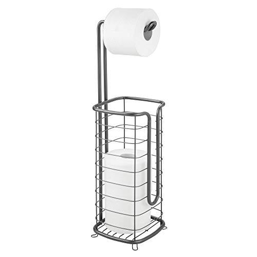mDesign Toilettenpapierhalter ohne Bohren – freistehender Klorollenhalter fürs Badezimmer – rostbeständiger Papierrollenhalter für vier Rollen – dunkelgrau