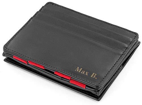 JAIMIE JACOBS Flap Boy mit Gravur - Das Original - Magischer Geldbeutel mit Münzfach RFID-Schutz Geschenk Herren echtes Leder (Schwarz mit Rot)