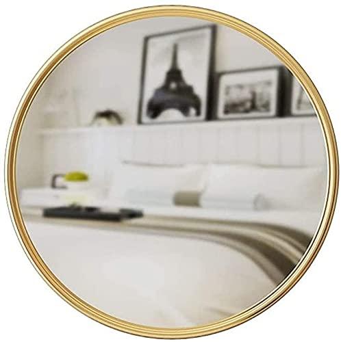 Qjkmgd Espejo, baño, Montaje en Pared, tocador, Espejo de Pared de baño Redondo, Espejo Colgante, Marco de Espejo de Maquillaje de baño Redondo, 60 cm (Size : 60Cm)