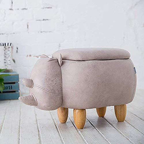 hclshops Taburete de almacenamiento de animales para niños, taburete creativo de 4 patas de madera maciza, para guardar juguetes de niños (color: A, tamaño: 63 x 33 x 36 cm)