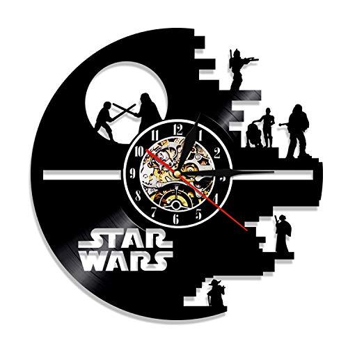 HQYMY Vinyle Enregistrer Horloge Horloge Star Wars Series Horloge Murale - Salon Unique Salon Chambre à Coucher Mur Suspendu Ornements - Décoration de Nuit de Noël (Style : B)