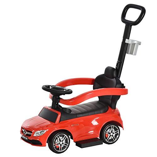 HOMCOM Rutschauto Rutscher Kinderauto von Mercedes Benz Kinderfahrzeug Schub- und Haltestange mit Rückenlehne/Schutzbügel, Lauflernhilfe für Babys 12-36 Monate (Rot)