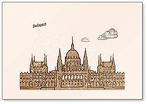 Budapest, Ungheria, illustrazione disegnata a mano - Calamita da frigorifero classica