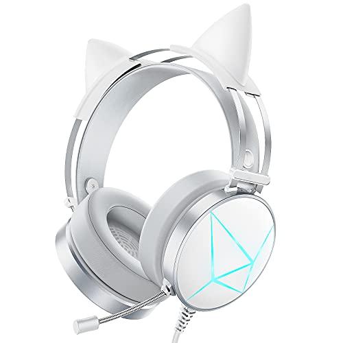 Nesan Fire Weißes Gaming-Headset, PC-Headset mit abnehmbaren Katzenohren, PS4-Headset mit Geräuschunterdrückungs-Mikrofon, Xbox One Headset mit 7.1 Surround-Sound, PS5 Headset mit LED-Lichtern