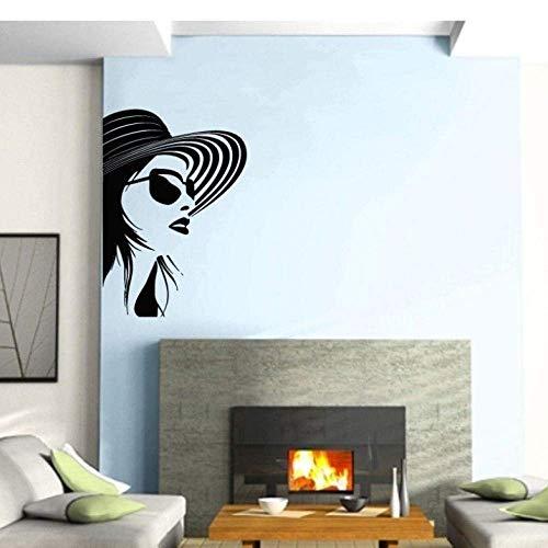 Modieuze stijl bril meisjes vinyl wandlamp Salon Home Salon muursticker mode 42 x 60 cm