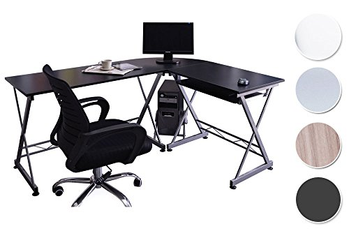 SixBros. Computerschreibtisch, großer Eckschreibtisch für Büro und Arbeitszimmer, Büroschreibtisch in schwarz, 160 x 120 cm CT-3802/2075