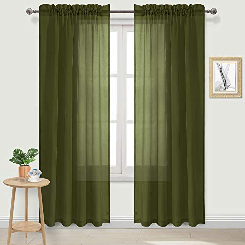 DWCN Olive Green Sheer Curtains Semi Transparent Voile Rod Pocket Curtains for Bedroom and Living Room, 52 x 84 inches Long, Set of 2 Panels