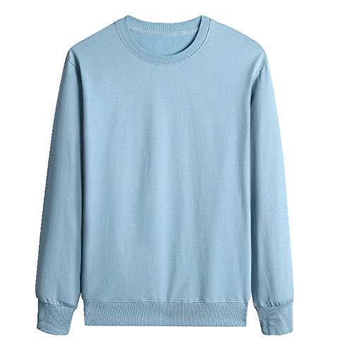 Suéter de manga larga para hombre con cuello redondo y manga larga