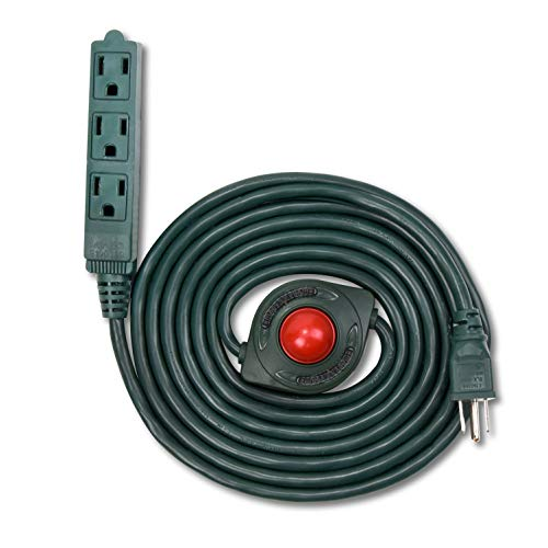 NEW! Electes 10 Feet 3 Grounded Outlets Extension Cord with Foot Switch and Light Indicator, 16/3, Green - UL Listed