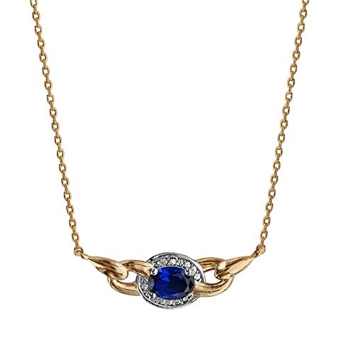 Ah! Jewellery Gift Boxed Gold Filled Oval Sapphire Cushion Crystal Necklace, Stamped GL.