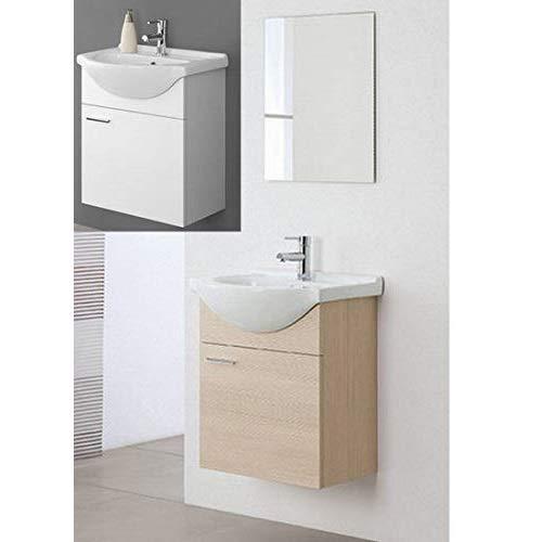 Arredo Bagno sospeso Rovere specchiera 56 lavabo Ceramica mobili I