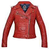 Warrior Gears® Gears Brando Style - Chaqueta de cuero para mujer, de primera calidad, piel de vacuno...