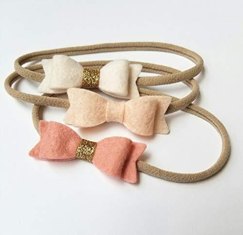 Handmade Mini Bows set of 3 Baby headbands nylon fits all