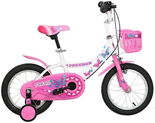 Ragazze Bike for 2-9 Years Old, Little Princess Style 12 14 16 Pollici Bici for Bambini con rotelle di addestramento, Telaio in Acciaio Bambino Bicicletta con Cestino, Rosa (Color : 16inch)