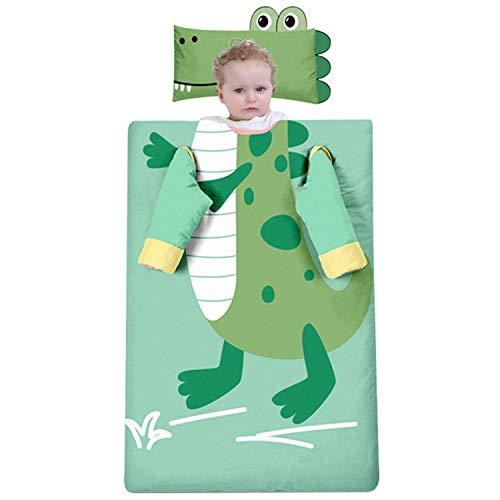 Dicke Baumwollschlafsack Für Kinder, Cartoon-Krokodil, Abnehmbare Ärmel Und Innere Liner, Multifunktionales Baby Anti-Kick-Quilt-Nickerchen Schlafsack,Thick