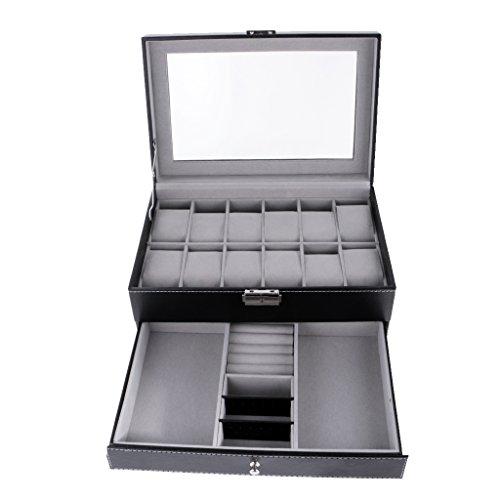 kowaku Caja de Reloj de 12 Ranuras Organizador de Caja de Joyería con Tapa de Cristal de Exhibición de Cuero PU Negro - Negro, Individual