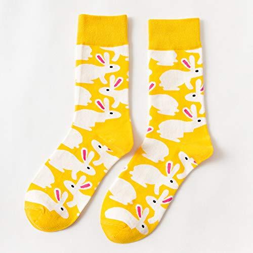 Ostersocken, Unisex, Mehrzweck-Socken, weich, bequem, Baumwollmischung, langlebig, Sportsocken, Häschen und bunte Eier Muster, Osterdekoration Free Size Yellow Rabbits
