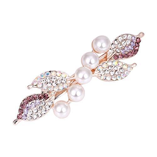 Qinlee Élégant Bijoux Pince à Cheveux Femme Violet Printemps Clip Epingle à Cheveux en Cinq Perle Cristal 3.5 * 9cm Alliage Maquillage Accessoires