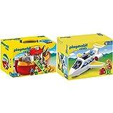 PLAYMOBIL 1.2.3 Playset Maletín, Arca De Noé, Multicolor, 18M+ (6765) + 1.2.3 Avión (6780)