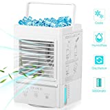 Portable Air Conditioner,60°/120° Auto Oscillation Personal Air Cooler,5000mAh USB Rechargeable Battery Operated Mini Cooling Fan with 3 Wind Speeds & 3 Misting Levels,Humidifier (A)