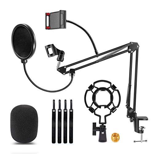 ZPXTI Soporte de micrófono profesional ajustable, brazo de micrófono con araña y adaptador clip de micrófono, adaptador de 3/8 a 5/8 pulgadas, para Blue Yeti Nano Snowball iCE y otros micrófonos