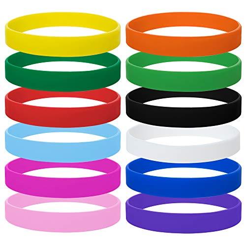 GOGO 12 Piezas de Pulseras de Goma para Niño, Pulseras de Silicona, Accesorios de Fiesta, Brazalete Elastica de Multicolor - Colores Mezclado