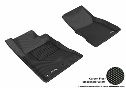 3D MAXpider Front Row Custom Fit Floor Mat for Select Ford Mustang Models - Kagu Rubber (Black)